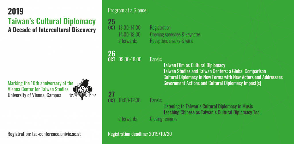 Registration open – International Conference: Taiwan's Cultural Diplomacy – A Decade of Intercultural Discovery